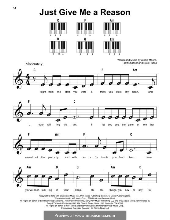 Just Give Me a Reason (Pink): For any instrument by Alecia Moore, Jeff Bhasker, Nathaniel Ruess