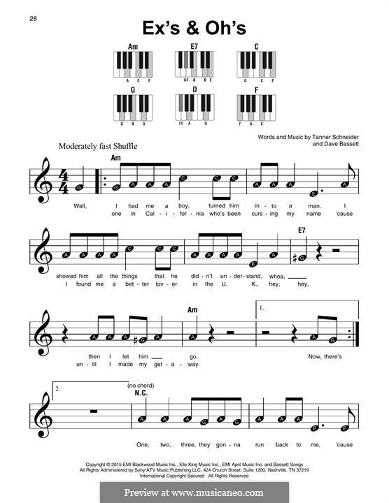 Ex's & Oh's (Elle King): For any instrument by Dave Bassett, Tanner Schneider