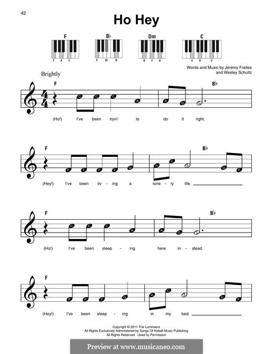 Ho Hey (The Lumineers): For any instrument by Jeremy Fraites, Wesley Schultz