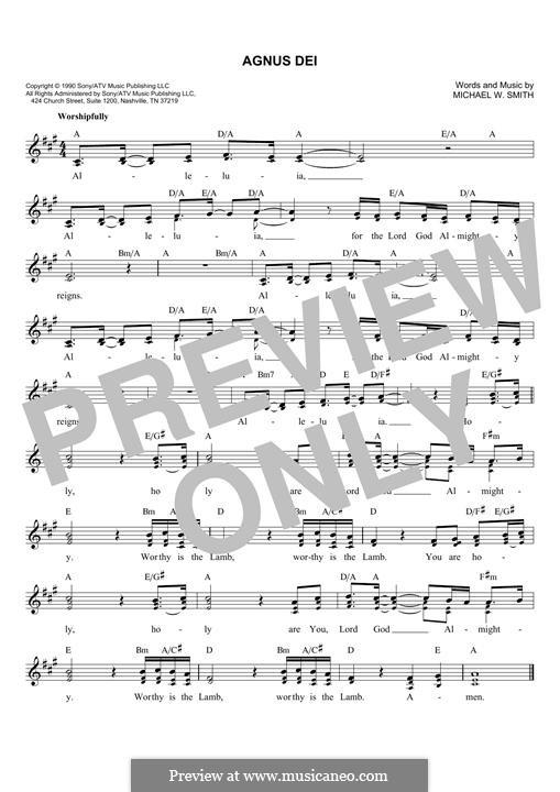 Agnus Dei: Melody line by Michael W. Smith