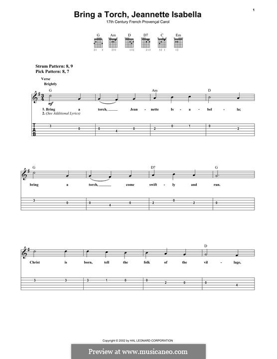 Bring a Torch, Jeannette Isabella: For guitar with tab by folklore