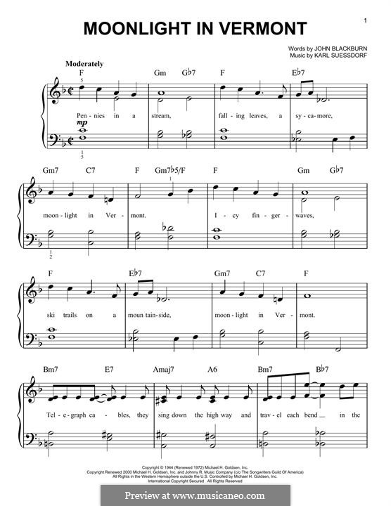 Moonlight in Vermont (Frank Sinatra): For piano by Karl Suessdorf