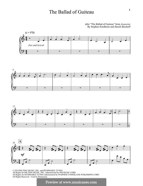 The Ballad of Guiteau: For piano by Stephen Sondheim