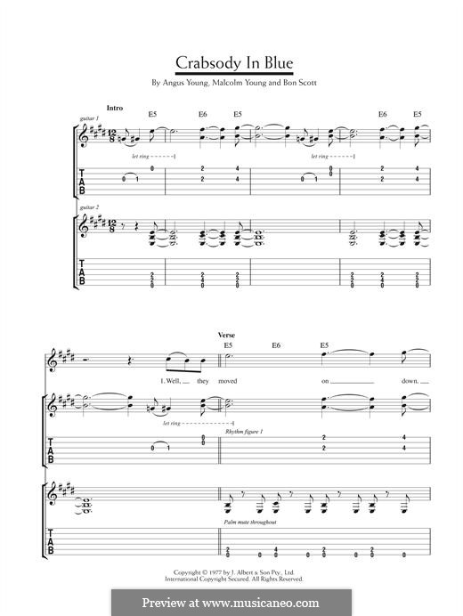 Crabsody in Blue (AC/DC): For guitar with tab by Angus Young, Bon Scott, Malcolm Young