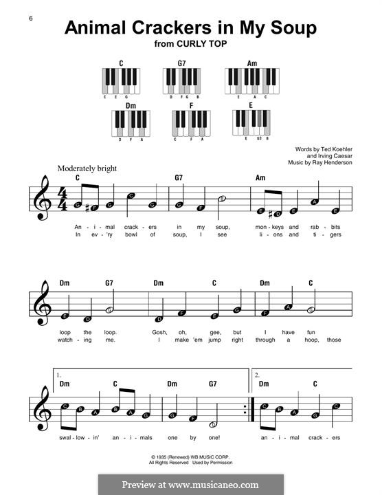 Animal Crackers In My Soup By R Henderson Sheet Music On Musicaneo
