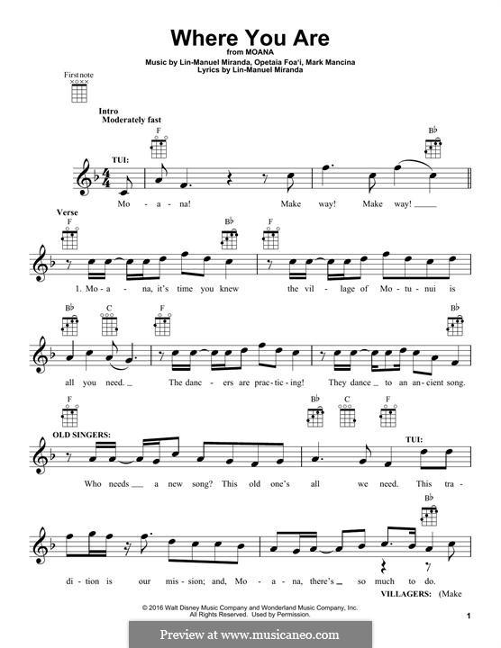 Where You Are (from Moana): For ukulele by Lin-Manuel Miranda, Mark Mancina, Opetaia Foa'i