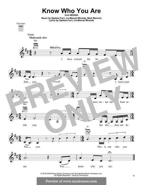 Know Who You Are: For ukulele by Lin-Manuel Miranda, Mark Mancina, Opetaia Foa'i