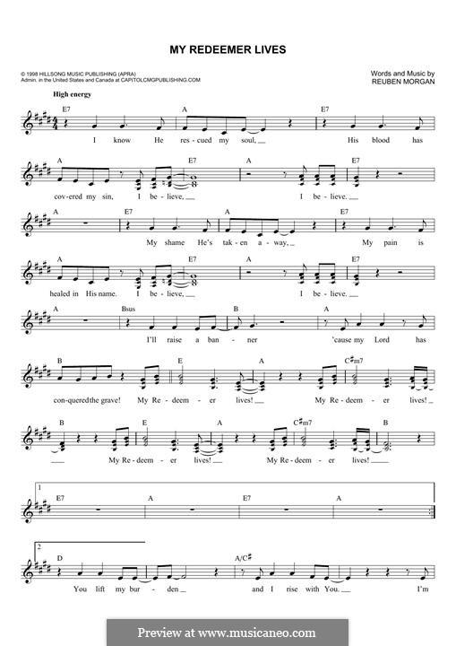 My Redeemer Lives: Melody line by Reuben Morgan