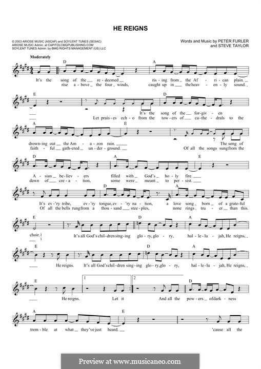 He Reigns Newsboys By P Furler S Taylor Sheet Music On Musicaneo