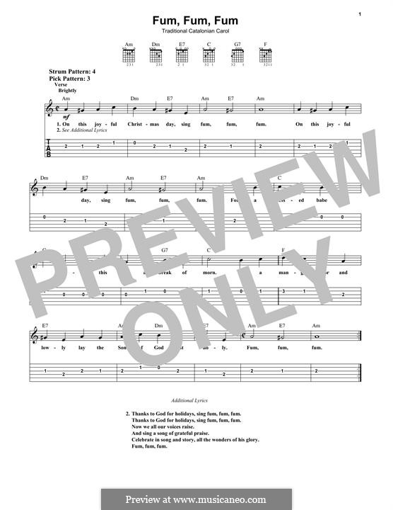 Fum, Fum, Fum: For guitar with tab by folklore
