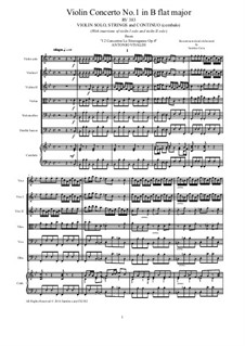 La stravaganza. Twelve Violin Concertos, Op.4: Violin Concerto No.1 in B Flat Major – score, parts, RV 383 by Antonio Vivaldi