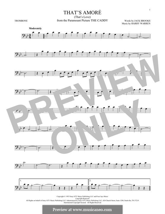 That's Amore (That's Love): For trombone by Harry Warren
