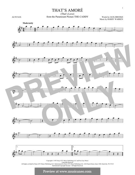 That's Amore (That's Love): For alto saxophone by Harry Warren
