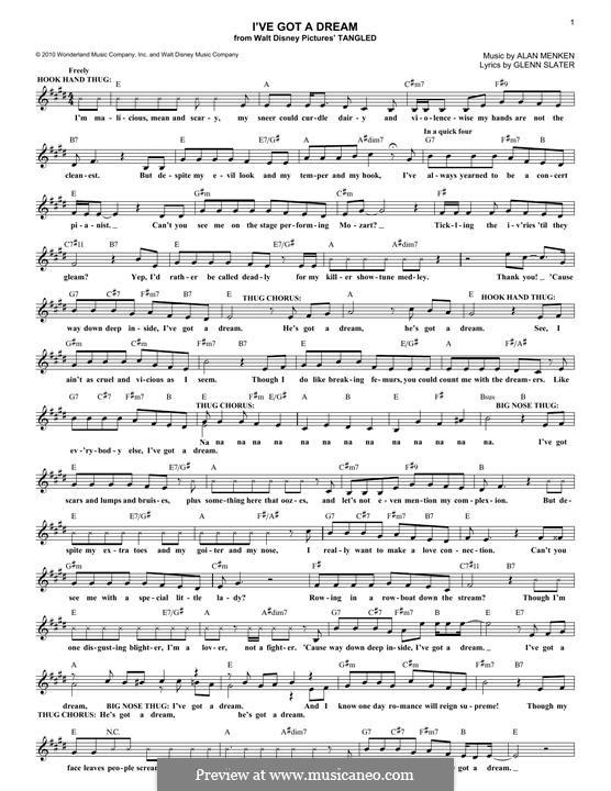 I've Got a Dream: Melody line by Alan Menken