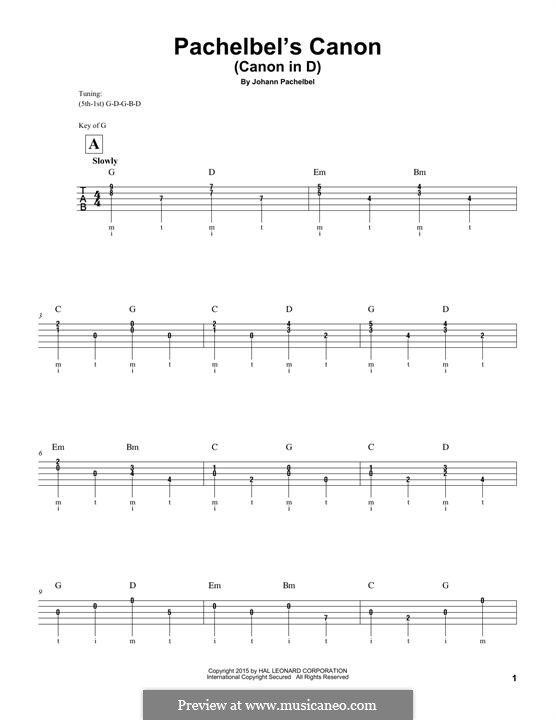 Canon in D Major (Printable): For banjo by Johann Pachelbel
