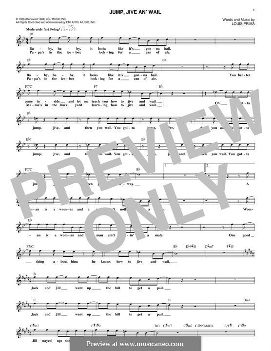 Jump, Jive an' Wail: Melody line by Louis Prima