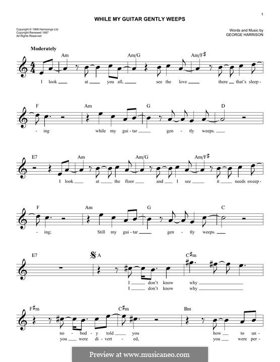While My Guitar Gently Weeps (The Beatles): Melody line by George Harrison