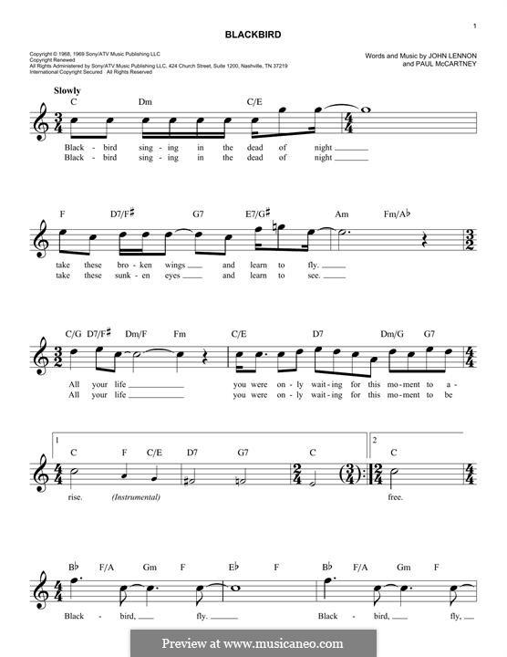 Blackbird (The Beatles): Melody line by John Lennon, Paul McCartney