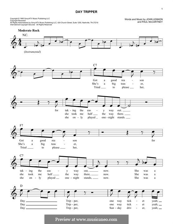 Day Tripper (The Beatles): Melody line by John Lennon, Paul McCartney