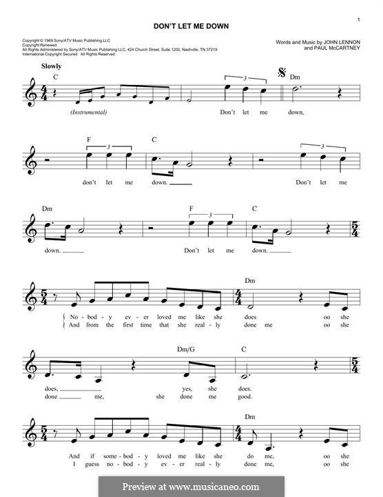 Don't Let Me Down (The Beatles): Melody line by John Lennon, Paul McCartney