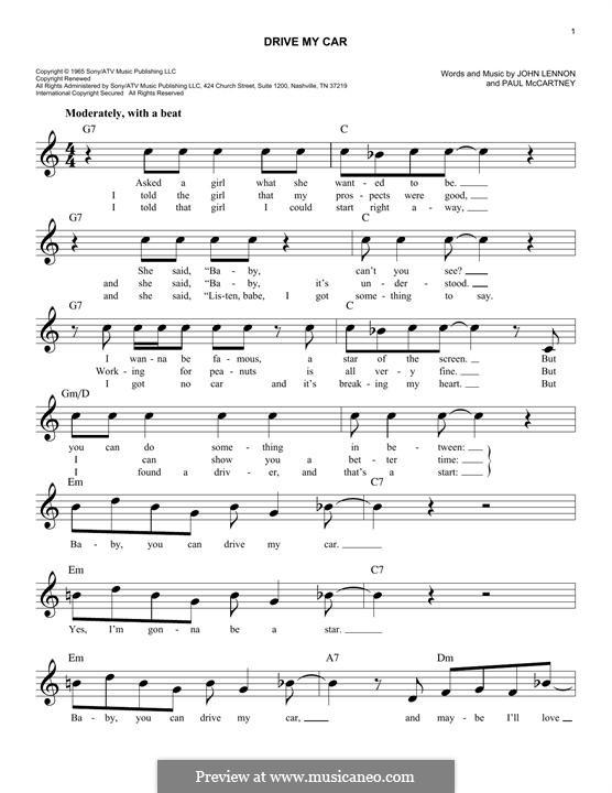 Drive My Car (The Beatles): Melody line by John Lennon, Paul McCartney