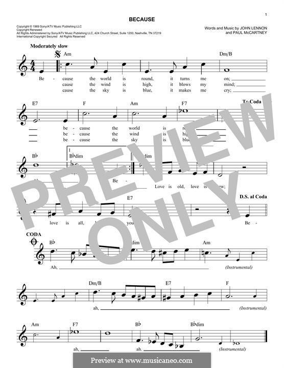 Because (The Beatles): Melody line by John Lennon, Paul McCartney