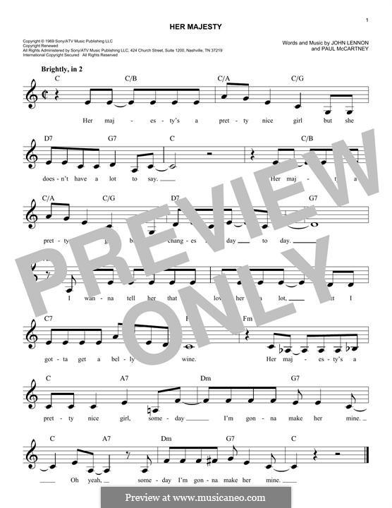 Her Majesty (The Beatles): Melody line by John Lennon, Paul McCartney