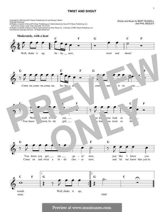 Twist and Shout (The Beatles): Melody line by Bert Russell, Phil Medley