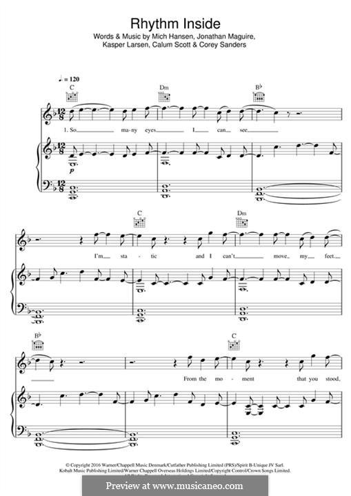 Rhythm Inside: For voice and piano (or guitar) by Mich Hansen, John Maguire, Kasper Larsen, Calum Scott, Corey Sanders