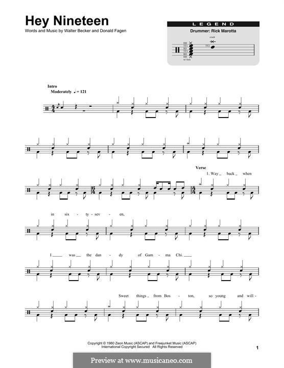 Hey Nineteen (Steely Dan): Drum set by Donald Fagen, Walter Becker