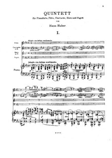 Quintet for Clarinet, Flute, French Horn, Basson and Piano, Op.136: Full score by Hans Huber