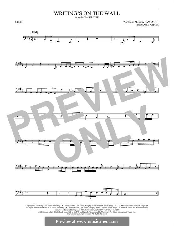 Writing's on the Wall (from James Bond: Spectre): For cello by Samuel Smith, James Napier