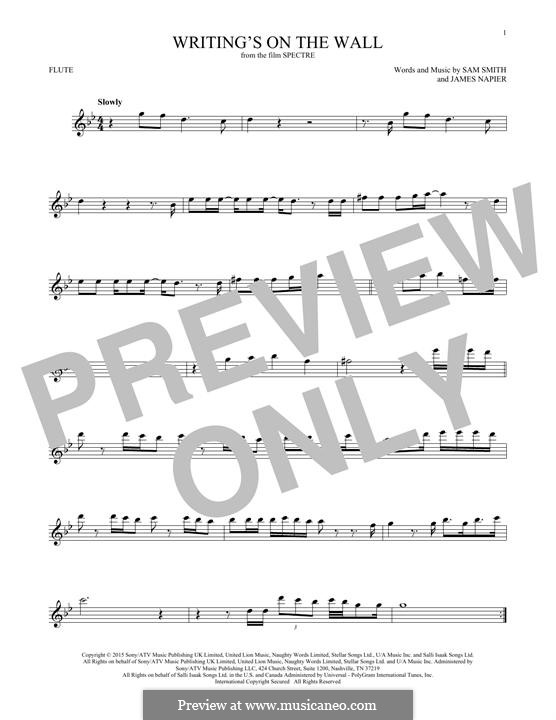 Writing's on the Wall (from James Bond: Spectre): For flute by Samuel Smith, James Napier