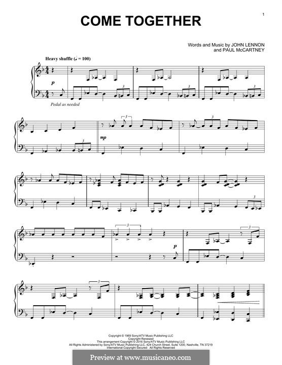 Come Together (The Beatles): For piano by John Lennon, Paul McCartney