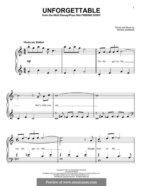 Unforgettable: For piano by Irving Gordon