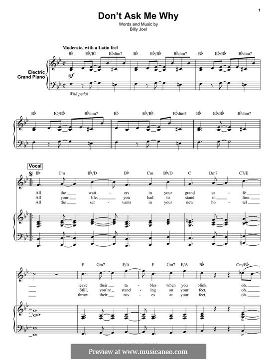 Don't Ask Me Why: For keyboard by Billy Joel