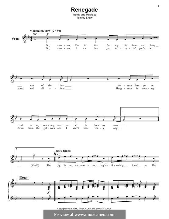 Renegade (Styx) by T. Shaw - sheet music on MusicaNeo