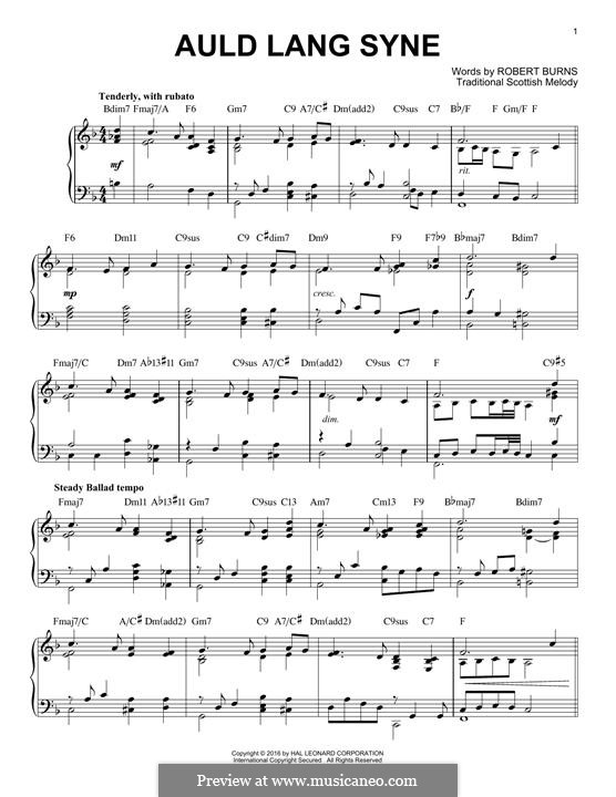 Auld Lang Syne, for Piano: For a single performer by folklore