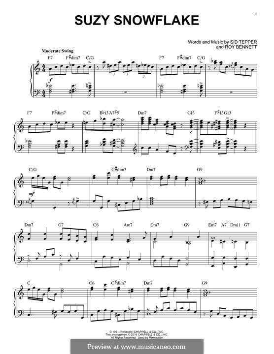 Suzy Snowflake (Rosemary Clooney): For piano by Roy C. Bennett, Sid Tepper