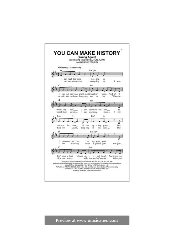 You Can Make History (Young Again): Melody line by Elton John