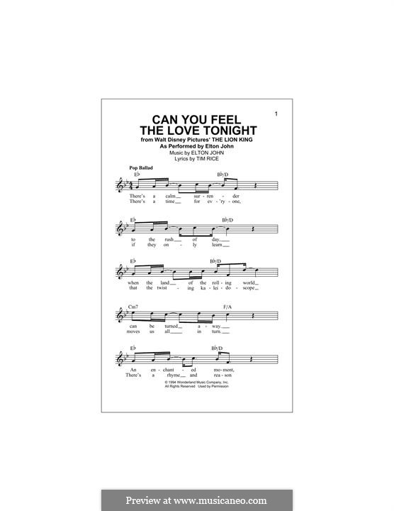 Can You Feel the Love Tonight (from The Lion King): Melody line by Elton John