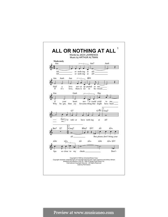 All or Nothing at All: Melody line (Frank Sinatra) by Arthur Altman, Jack Lawrence