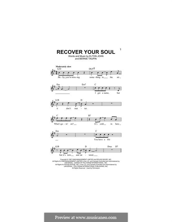 Recover Your Soul: Lyrics and chords by Elton John