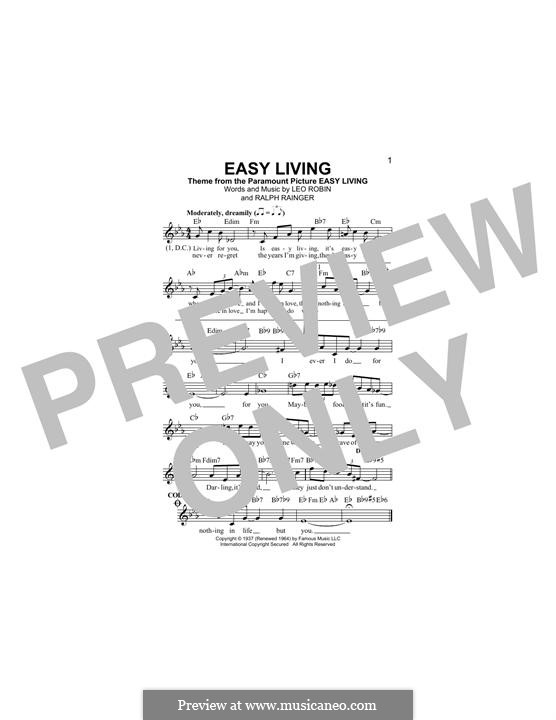 Easy Living (Billie Holiday): Lyrics and chords by Leo Robin, Ralph Rainger