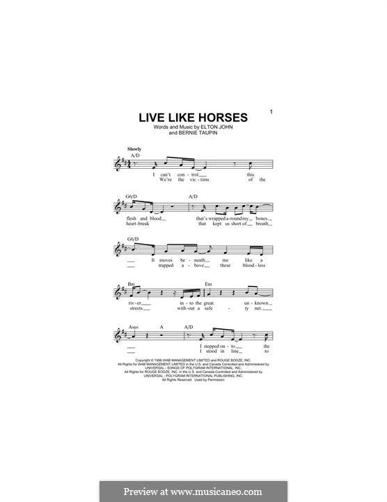 Live Like Horses: Lyrics and chords by Elton John