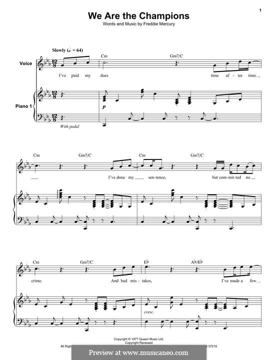 We are the Champions (Queen): For voice and piano by Freddie Mercury