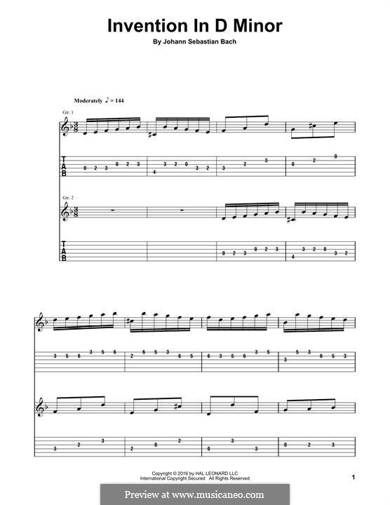 No.4 in D Minor, BWV 775: For guitar by Johann Sebastian Bach