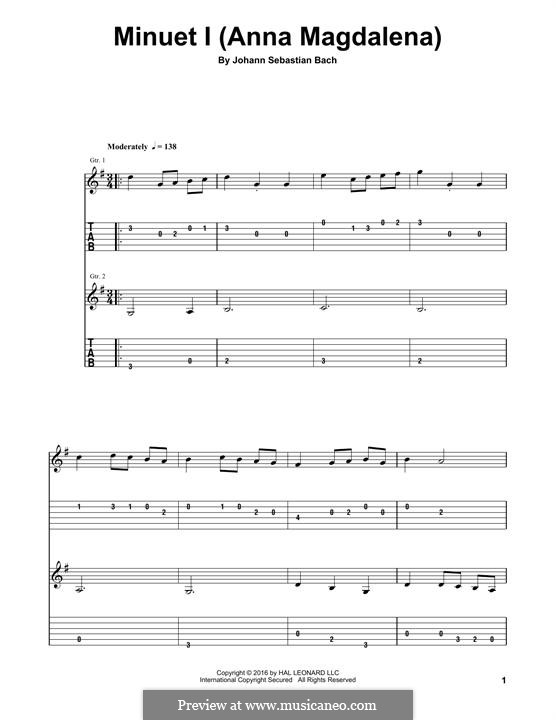 No.4 Minuet in G Major, BWV Anh.114: For guitar by Johann Sebastian Bach