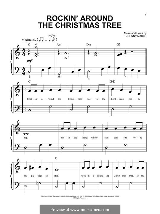 Rockin' Around the Christmas Tree: For piano by Johnny Marks