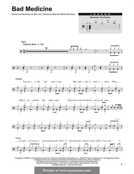 Bad Medicine (Bon Jovi): Drum set by Desmond Child, Jon Bon Jovi, Richie Sambora
